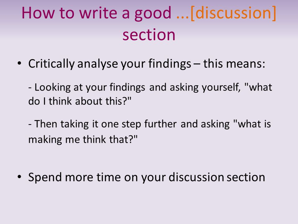 How to write a good ...[discussion] section